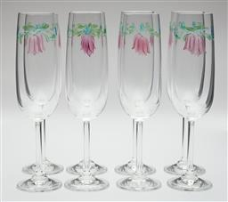 Sale 9123J - Lot 210 - A set of 8 crystal champagne flutes, each hand painted with flowers Ht: 21cm