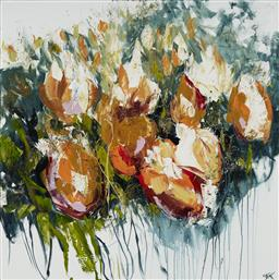 Sale 9170A - Lot 5072 - CHERYL CUSICK Tulips acrylic on canvas 101.5 x 101.5 cm signed lower right