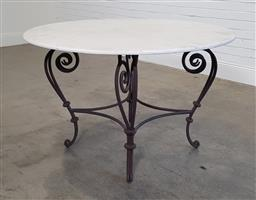 Sale 9183 - Lot 1058 - Wrought iron base with round marble top (h77 x d120cm)