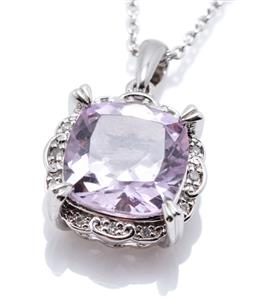 Sale 9253J - Lot 307 - A SILVER AMETHYST AND DIAMOND PENDANT NECKLACE; featuring a cushion cut amethyst of approx. 3.98ct to surround set with 12 round sin...
