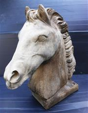 Sale 8312A - Lot 64 - A cast stone horse head gate post finial, size 41 x 39 x 15 cm