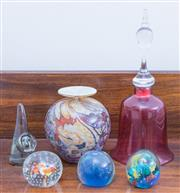 Sale 8440A - Lot 58 - A quantity of novelty glasswares including a cranberry glass bell (dong missing) and four glass paperweights together with an art gl...