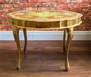 Sale 8500A - Lot 44 - A vintage 1940s Italian Florentine Coffee Table in rare green gilded colourway, featuring lovely table top pattern in typical Flore...