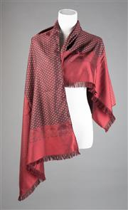 Sale 8499A - Lot 80 - A Fumagalli (Italian Made) long silk paisley & geometric print maroon scarf with hand rolled edges.