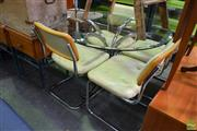 Sale 8566 - Lot 1549 - Vintage Chrome and Glass Dining Setting (74 x 105)