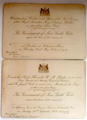 Sale 8639 - Lot 13 - Two Invitation Cards, The Return of the Prime Minister WM Hughes and the Return of the First Division of the RAN.