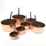 Sale 8872C - Lot 68 - Set of 7 French Copper Saucepans, diameter of largest 21cm