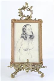 Sale 8905S - Lot 683 - A small brass easel together with a framed Norman Lindsay print. Height 50cm