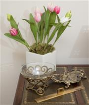Sale 8926K - Lot 3 - A brass desk set together with a ruler, trinket bowl and artificial tulip plant