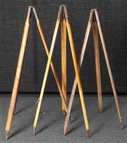 Sale 8984W - Lot 502 - A Collection of three military issue timber tripods each approximately 96cm