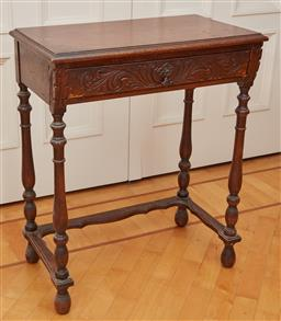 Sale 9098H - Lot 87 - A single drawer occasional table with carved front and stretcher base, height 76cm x Width 61cm x Depth 36