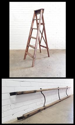 Sale 9102 - Lot 1309 - Rustic timber A-Frame ladder together with another example (various sizes)