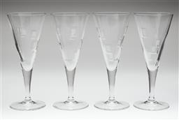 Sale 9123J - Lot 211 - A set of 4 Royal Doulton lead crystal champagne flutes, cut and etched with squares Ht: 21cm