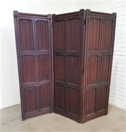 Sale 9142 - Lot 1014 - Gothic Style Oak Three Panel Screen, with linen fold panels (H: 189 x 63.5 cm each panel)