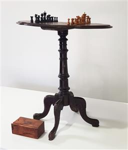Sale 9188 - Lot 1584 - Antique chessboard occasional table with pieces - some damage (h:70cm)