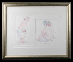 Sale 7923 - Lot 533 - Janet Cobb (2 Works) - Bath Scenes 24 x 20cm and 26 x 20cm, in a single frame