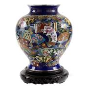 Sale 8000 - Lot 34 - A Japanese cloisonné baluster vase decorated with fans, marked to base for Inata, with associated timber stand.