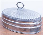 Sale 8440A - Lot 59 - A silver plated gadrooned and crested heavy gage meat dome, L 42cm
