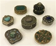 Sale 8436A - Lot 10 - A group of seven metal and cabochon encrusted pill boxes, including a silver shaped example.
