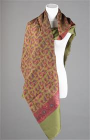 Sale 8499A - Lot 81 - A Fumagalli, (Italian Made) long silk paisley & geometric print olive & maroon scarf with hand rolled edges and fringed ends.