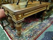 Sale 8653 - Lot 1007 - Probably Late Victorian Cedar Side Table, with later top, on solid turned legs