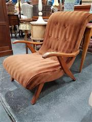 Sale 8688 - Lot 1050 - Striped Upholstered Timber Armchair