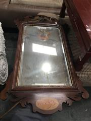 Sale 8728 - Lot 1057 - Georgian Style Mahogany & Gilt Mirror, with ho-ho bird above & inlaid shell below