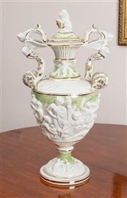 Sale 8774A - Lot 308 - A large Capodimonte twin handled urn form vase in cream seafoam and gilt with siren handles and lion finial, H 50cm