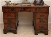 Sale 8926K - Lot 1 - A Georgian style mahongany veneered double pedastal desk with tooled green leather inlay, H 76 x W 120 x D 60cm