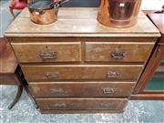 Sale 9006 - Lot 1033 - Edwardian Rustic Pine Chest of Five Drawers, with painted finish & plinth base (H:112 x W:106 x D:46cm)