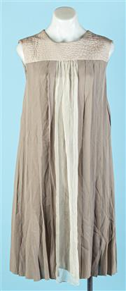 Sale 9090F - Lot 126 - A LONGCHAMP PANELLED MIDI DRESS, with moc croc collar detail, in a stone and sand silk, size  38/8-10