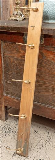 Sale 9060H - Lot 24 - A pair of wall mount hat/coat racks each with five brass hooks on a timber base. 100cm wide.