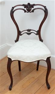 Sale 9070H - Lot 37 - A single French mahogany and upholstered dining chair of elegant proportions, Height of back 88cm