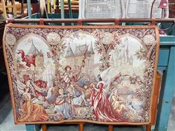 Sale 9097 - Lot 1059 - Wall Tapestry in Medieval Style, with knights before a castle