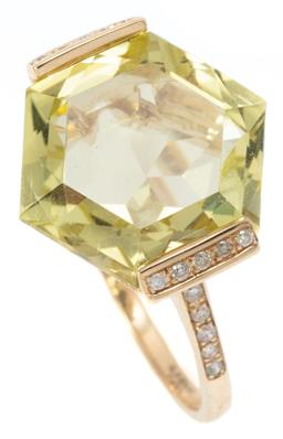Sale 9164J - Lot 400 - A 9CT GOLD LEMON QUARTZ AND DIAMOND RING; set with a fancy hexagonal cut lemon quartz of 8.22ct to side claw setting and shoulders s...