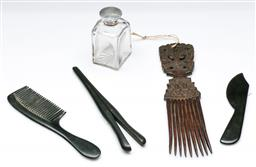 Sale 9168 - Lot 475 - Collection of dressing tableware incl antique perfume bottle and other combs