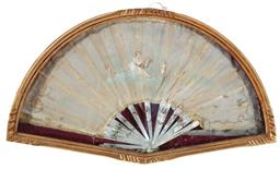 Sale 9190H - Lot 46 - A mother of pearl handled vintage fan handpainted with a figure playing lyre, in gilt box frame, Height 38cm x Width 65cm