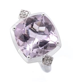 Sale 9253J - Lot 474 - A SILVER AMETHYST AND DIAMOND COCKTAIL RING; featuring a cushion cut lilac amethyst of approx. 10.52ct to shoulders each set with a...