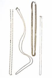 Sale 8343 - Lot 312 - FOUR 9CT GOLD CHAINS; a 3 strand rope chain, figaro chain, (broken), box chain and a curb chain, wt, 32g.