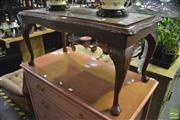 Sale 8361 - Lot 1064 - Side Table on Cabriole Legs w Tooled Leather Top