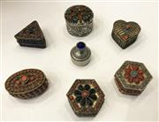 Sale 8436A - Lot 79 - A group of seven mainly Indian cabochon encrusted pill boxes of assorted sizes.