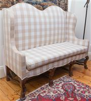 Sale 8435A - Lot 79 - A mid C18th style camel back settee with lobed sides in mocha gingham, W 160 x H of back 140cm