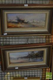 Sale 8537 - Lot 2138 - Lionel Taprell (2 works) - Country Towns 11.5 x 29.5cm, each