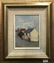Sale 8563T - Lot 2019 - Barry Chamberlain Elegant Houses, Millers Point, oil on board, 19 x 14cm, signed lower left