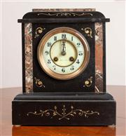 Sale 8774A - Lot 309 - A Belgian slate mantle clock with rouge marble inlay with Arabic numerals striking and chiming the dial marked London & Sydney  H x...