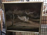 Sale 8824 - Lot 2022 - Clarrie Cox - Country scene with birds, oil on board , frame size: 42 x 50cm, signed lower left