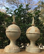 Sale 8857H - Lot 43 - A Pair of White Cast Iron Finials /Spires, General Wear, Surface Rust Size: 50cm H