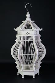 Sale 8905S - Lot 685 - A white painted rustic bird cage. Height 70cm