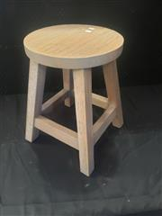 Sale 8959 - Lot 1081 - Set of Four Round Top Timber Stools (H: 46cm)