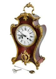 Sale 8960J - Lot 62 - A tall antique French ormolu mounted red faux shell Mantel clock, eight day French movement, striking the hours and the halfs on a...